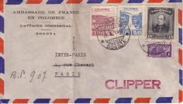 COLOMBIE - LETTRE DE L'AMBASSADE DE FRANCE EN COLOMBIE , AU DEPART DE BOGOTA EN MARS 1948 , PAR CLIPPER . - Colombie