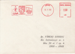 D7773- ATHLETICS, SEOUL'88 OLYMPIC GAMES, AMOUNT 1.5, ARAD, RED MACHINE STAMPS ON COVER, 1988, ROMANIA - Ete 1988: Séoul