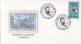 D7789- JULIUS PAYER, POLAR EXPLORER, SHIPS, SPECIAL COVER, 1992, ROMANIA - Polar Explorers & Famous People