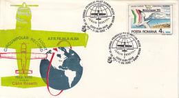 D7792- CALIN ROSETTI, FIRST ROMANIAN CIRCUMPOLAR FLIGHT, PLANE, SPECIAL COVER, 1992, ROMANIA - Polar Flights