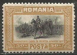 Romania - 1906 Prince Carol And Army 50b MH *   SG 510 - 1881-1918: Charles I