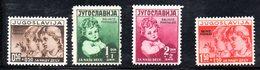 YUG50C - YUGOSLAVIA 1938 , SALVATE PARVULOS Serie Unificato N. 317A/D  ***  MNH - Nuovi