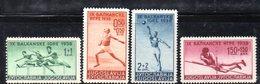 312 490 - YUGOSLAVIA 1938 , GIOCHI BELGRADO Serie Unificato N. 326/329  * - Nuovi
