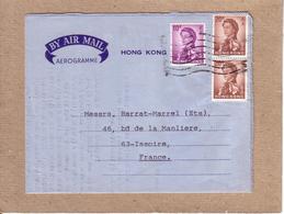 HONG KONG - AREOGRAMME AU DEPART DE HONG KONG POUR ISSOIRE , FRANCE - 1969 - Hong Kong (...-1997)