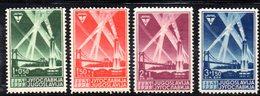 338 490 - YUGOSLAVIA 1938 , AERO CLUB Serie Unificato N. 318/321  * - Nuovi