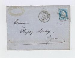 Sur Lettre N° 60B YetT Oblitéré. Cachet à Date Montélimar 1874. (556) - Postmark Collection (Covers)