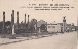 Cp , 75 , PARIS , Exposition Des Arts Décoratifs, Jardins Floraux Et Colonnes Lunineuses Et Pavillon Christofle-Baccarat - Expositions