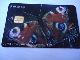 CUBA OLD USED CARDS BUTTERFLIES - Cuba