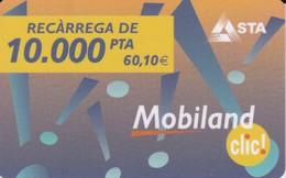TARJETA DE ANDORRA DE RECARGA DE MOVIL MOBILAND DE 10000 PTAS VALIDEZ: 01/11/2004 - Andorra