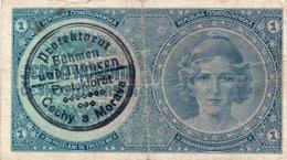 CECOSLOVACCHIA 1 KORUN 1938 P-27-BOEMIA E MORAVIA -PROTEKTORAT - Cecoslovacchia
