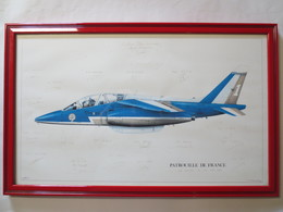 Patrouille De France - Lithographie Alpha Jet - Profil - Dédicacé - Meeting - 24 Mai 1990 - Le Havre - G. Beernard - Ill - Aviation