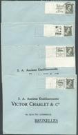 Lot De 8 Lettres Avec Timbres PUB 107/114 (série Complète Avec Bord Lignes Ondulées) Vers Bruxelles- 12865 - Advertising