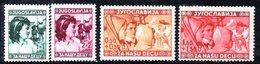 YUG55A - YUGOSLAVIA 1940 , INFANZIA Serie Unificato N. 380/383  *** - Nuovi