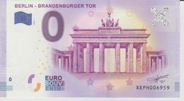 Billet Touristique 0 Euro Souvenir Allemagne Berlin - Brandenburger Tor 2018-1 N°XEPH006959 - EURO