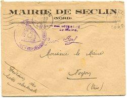 NORD De SECLIN Env. à En Tête De La Mairie Avec EMA  Du 22/01/1951 - 1921-1960: Période Moderne