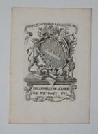 Ex-libris Armorié Français XVIIIème - Balthazard Joseph Dieudonné Henry De Seichamps, Chanoine De L'église De St Dié - Ex Libris