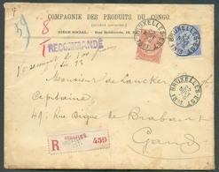 CONGO BELGE BELGIQUE N°57-60 Obl. Sc BRUXELLES (EST) Sur Enveloppe Recommandée Du 22 Novembre 1893 Avec En-tête  COMPAGN - Marcophilie