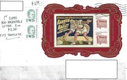 USA 2015 Envelope Ohio To Romania Circus Sheet Imperf. - Etats-Unis
