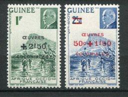 7651   GUINEE  N°  185/6**  Timbres De 1941 Surchargés OEUVRES COLONIALES   1944    TTB - Guinea Francesa (1892-1944)