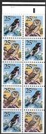 US  1988  Sc#2285b  25c Saw-whet Owl & Rose-breasted Grosbeak Booklet Pane Of 10  MNH - Gufi E Civette