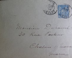 Lot 1766 - SAGE TYPE II N°90 - ✉ ENTIER POSTAL - PARIS DEPART (SECTION DE LEVEE) 10 DECEMBRE 1898 > CHÂLONS SUR MARNE - Enveloppes Types Et TSC (avant 1995)