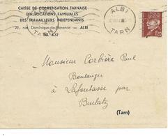 N°YT 515 Sur Lettre De La Caf Albi Pour Lafontasse Par Burlats Tarn 1944 - France