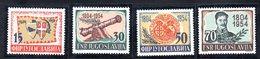 124A 490 - YUGOSLAVIA 1954 ,  Serie Unificato N. 656/659  ***  Insurrezione - 1945-1992 Repubblica Socialista Federale Di Jugoslavia