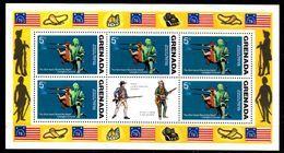 GRENADE  Feuillet  N°  595 * *   Bicentenaire De L Independance Des Usa Uniforme - Unabhängigkeit USA