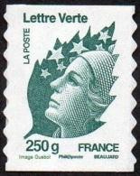 France Autoadhésif N°  607 ** Au Modèle 4596 - Marianne De Beaujard. Le 250 Gr. Vert, Du 1 Octobre 11 - Verso Fond Blanc - France