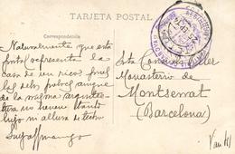 """T.P. De Tetuán A Montserrat, En 1914. Marca """"""""Regimiento Infantería De Saboya N 6"""""""" Y Fechador Tetuán-Marruecos. - Marruecos Español"""