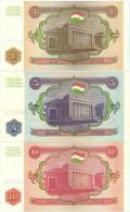 TAJIKISTAN Set 1, 5, 10 Rubles P- 1 - 3  1994 *UNC* - Tadjikistan