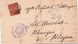 Piego Amministrativo Comunale  Mason Con Annullo Tondo A Barrette Numerale - 1878-00 Umberto I