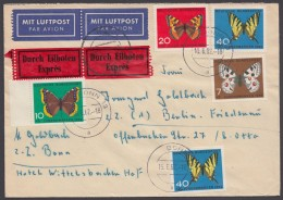 """Mi-Nr. 376/9, """"Schmetterlinge"""", 5 Werte Auf Eilboten-Luftpost Nach Berlin - BRD"""