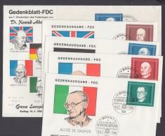 """Mi-Nr. Block 4 , 554/7. """"Adenauer""""- Block, 1968, Block-FDC Und Alle Einzelwerte Auf FDC Mit Pass. ESst. - BRD"""