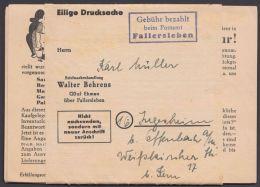 """""""Fallerleben"""", Ra """"Gebühr Bezahlt""""auf Kplt. Drucksache Mit Inhalt """"Walter Beherns"""" - Briefe U. Dokumente"""