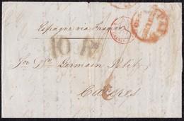 1840. LONDRES A CÁCERES. FECHADOR ROJO. AMBULANTE DE CALAIS. 1 CHELÍN Y 10Rs. AL DORSO FECHADOR Y TRÁNSITO POR BAYONA. - ...-1840 Préphilatélie