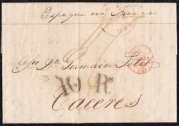 1841. LONDRES A CÁCERES. FECHADOR DE TRÁNSITO DE CALAIS. 1 CHELÍN Y 10Rs NEGRO. AL DORSO TRÁNSITO POR BAYONA Y ETIQUETA. - ...-1840 Préphilatélie
