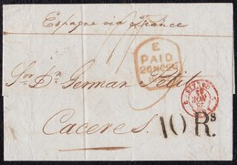 1842. LONDRES A CÁCERES. FECHADOR PAID DE SALIDA Y TRÁNSITO POR CALAIS. 1 CHELÍN Y 10Rs. AL DORSO FECHADOR Y TRÁNSITO. - ...-1840 Préphilatélie