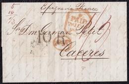 1843. LONDRES A CÁCERES. FECHADOR PAID, 1/3 CHELINES/PENIQUES, 10Rs. AL DORSO TRÁNSITO POR BAYONA, FECHADOR Y ETIQUETA. - ...-1840 Préphilatélie