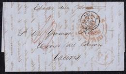 1850. LONDRES A CÁCERES. FECHADOR LONDON/PAID. TRÁNSITO POR CALAIS. 1 CHELÍN Y AL DORSO ETIQUETA DE CIERRE. INTERESANTE. - ...-1840 Préphilatélie