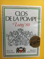8499 - Clos De La Pompe Ville De Lausanne Services Industriels Station Pompage Lutry 1989 Suisse - Etiquettes