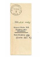 Quittance De Loyer Miete Brauerei Gruber Strassburg Königshoffen 100 Reichsmark 1943 Occupation Brasserie Strasbourg WW2 - Frankreich