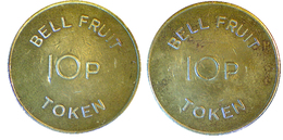01302 GETTONE JETON TOKEN VENDING MACHINE BELL-FRUIT 10P - United Kingdom