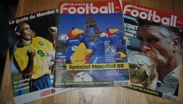 Rare Lot De 3 Revue Frnace 98 France Football Spécial Coupe Du Monde 1998 Et Ouest-france Guide Mondial 98 - Fútbol