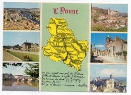 L' YONNE -- 1980--carte Géographique -Multivues (Auxerre,Tonnerre,Sens,Avallon,Joigny,Vezelay) - France