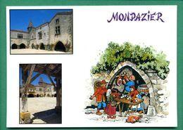 24 Monpazier Bastide En Périgord ( Champignons, Cepes, Jambon, Chien, Tonneau, Multivues ) - Autres Communes