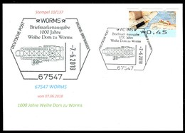 84387) BRD - SoST-Karte 10/137 - 67547 WORMS Vom 07.06.2018 - 1000 Jahre Weihe Dom Zu Worms, Kirche - Marcophilie - EMA (Empreintes Machines)
