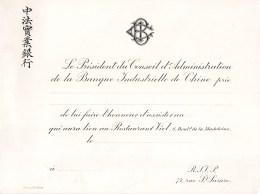 CHINE CHINA INVITATION 1900 BANQUE INDUSTRIELLE DE CHINE RESTAURANT VIEL 8 BOULEVARD DE LA MADELEINE STERN - China
