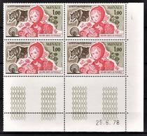 MONACO 1978 BLOC DE 4 TP / N°1156 - NEUFS** COIN DE FEUILLE / DATE - Monaco