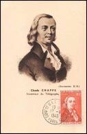 0596/ Carte Maximum (card) France N°844 Claude Chappe Telegraphe 13/6/1949 Fdc Premier Jour Congres UIT - ....-1949